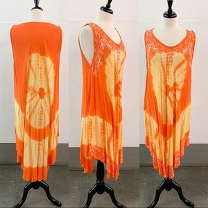 Tie Dye Hippie Sleeveless Dress Sun Embroidered